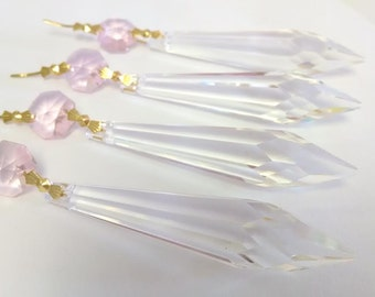 5 Clear Icicle with Pink Octagon Chandelier Crystals Prisms