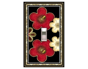 1650x- Asian Red Blossoms - mrs butler switch plate covers -