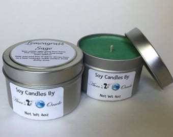 Lemongrass Sage 4oz Soy Wax Candle