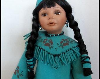 Vintage American Indian Porcelain Doll