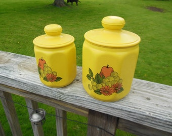 Set of nesting canisters - vintage - yellow with pattern
