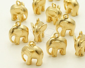 PD-943-MG / 2 Pcs - Indian Elephant Charm Pendant, Matte Gold Plated over Brass / 11mm x 11mm