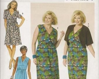 Womens Plus Size Dress with Shrug, Sizes 26W Thru 32W, New Butterick Pattern 5764