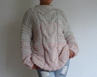 knit sweater, bulky sweater, oversized, cable knit sweater, knit jumper, knit pullover, bulky pullover, loose knit, made to order