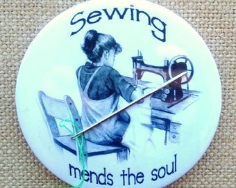 "Big Needle Minder or Fridge Magnet, 3.5"", Drawing of Girl, Old Sewing Machine, Sewing Mends the Soul, Pencil Art, Seamstress, Sewist"