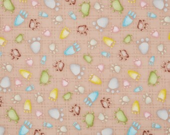 By The HALF YARD - Snuggle Buddies by Stacey Yacula for Quilting Treasures, Pattern #23436-A, Paw Prints on Light Cocoa, Animal footprints,