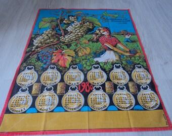 RÉDUCTION - Français vintage en coton imprimé calendrier 1980 torchon / torchon (03103)