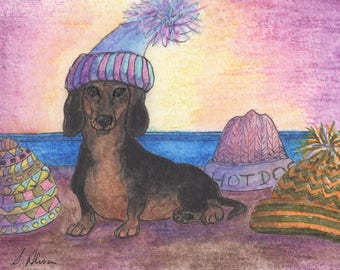 Dachshund dog 8x10 art print from Susan Alison watercolor painting Weiner Doxie sausage dog trying to decide which woolly hat to wear dachs