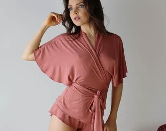 bamboo pajama set with flutter sleeve wrap and flutter tap pants - ICON bamboo sleepwear and lingerie range - made to order