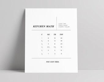 Kitchen Conversions Chart, Kitchen Print, Kitchen Art, Cooking Conversions