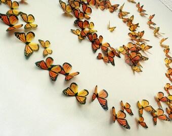 Monarch Butterflies 3D Wall Art- Set of 100