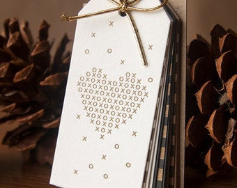 Golden Hearts Gift Tags - 12 pack Letterpressed Gift Tags