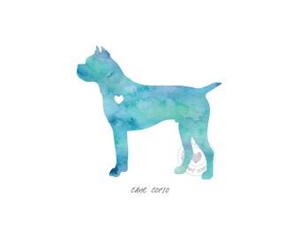 Cane Corso Dog Watercolor Painting Digital Art Print Silhouette Custom Wall Decor, Home, Office, Nursery, Room Decor