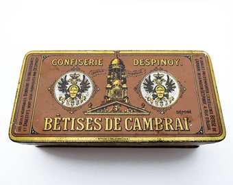 Candy tin box BETISES DE CAMBRAI old original illustrated 1940s orange and gold - french vintage