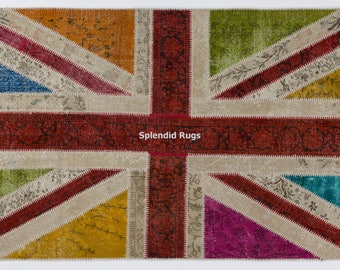 Union Jack - British Flag design Patchwork Rug. Handmade from OverDyed vintage carpets. CUSTOM OPTIONS Available.  d545