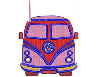 Volkswagen Bus Van Embroidery Design - Instant Download Filled Stitches Embroidery Design 1208