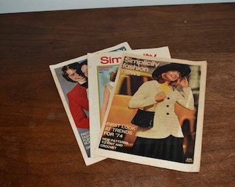 Set of 3 Vintage Simplicity Fashion New Publications // May 1972 December 1973 January 1974