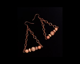 Natural stone and copper triangle dangle earrings