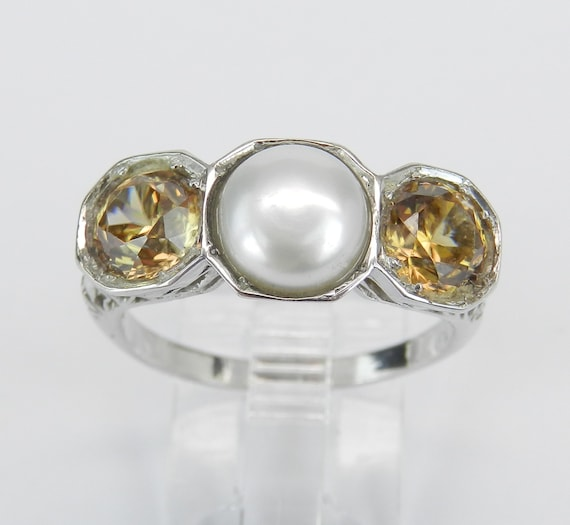 Antique Art Deco 14K White Gold Golden Beryl and Pearl Three Stone Cocktail Ring Size 8