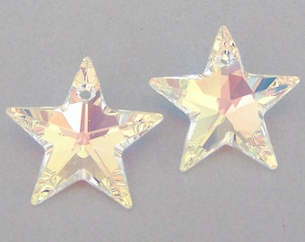 2 AB 20mm Star Swarovski crystal, aurora borealis crystal star pendants, sun catcher