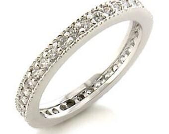 Ring - reflo459 - rhodium - set CZ 360 degrees
