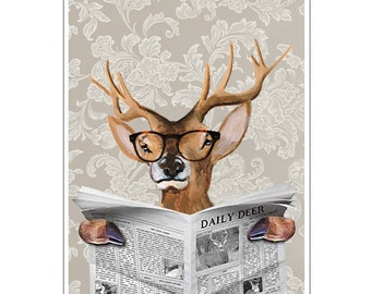 Deer Print,  Antler, Stag, Deer Art, Deer Art Print, Deer Artwork, Wall Decor, Wall Art, Deer Wall Hanging, 8x10,Gift For Men,Newspaper