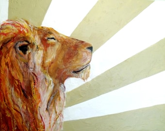 Art, Lion and sun in contemporary art print, sleepy lion in warm fall colors