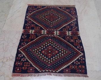 "Decorative kilim rug,handmade rug,colorful rug,tribal kilim rug,vintage kilim rug,area rug,ethnic kilim,bohemian rug,2,2""x3,"" feet,67x90cm"
