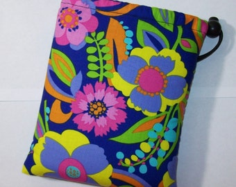 """Pipe Pouch, Tropical Floral Bag, Pipe Case, Flower Bag, Pipe Bag, Padded Pipe Pouch, Hippie, 420, Weed Bag, Smoke Accessory - 7"""" DRAWSTRING"""