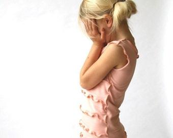 CHILDREN'S RUFFLED TANK girls shirts| girls tops| girls tank tops| girls clothing| light pink shirt| handmade girls clothing| unique fashion
