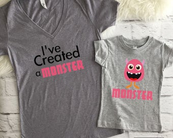 I've Created A Monster Set | mommy and me | mommy and me outfit | Matching mommy and daughter | Mommy and me shirts | Mommy and daughter