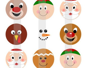 """Holiday Faces - one 4x6 inch digital sheet of 1"""" round images for bottlecaps, magnets, glass tiles, pendants etc"""