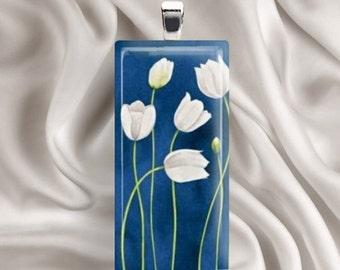 Tulips in White - Glass Tile Pendant