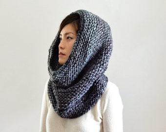 Chunky Knit Scarf, Merino Wool Cowl, Infinity Scarf, Clothing Gift, Cowl Hood, Snood