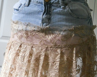 Vintage lace jean skirt sheer delicate beige ecru boho chic feminine sexy bohemian altered Renaissance Denim Couture