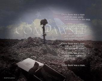 Combat Memorial, Soldier's Cross, Tribute to America's Fallen Soldiers, Digital Photo Composite, Original Text