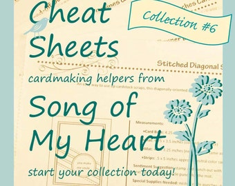 Cheat Sheets Collection #6: Instant Digital Download cardmaking tutorials, sketches, rubber stamping, complete instructions & measurements