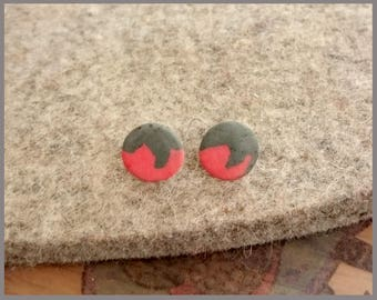 no.125 Small Delicate Red and Grey Porcelain Sterling Silver Stud Earrings