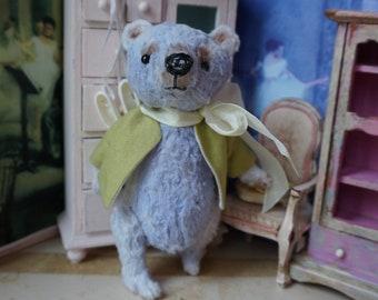 "OOAK Artist Bear -  PERIWINKLE - 5"" Tall Periwinkle German Viscose Collectible Teddy Bear"