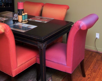 Upholstered Parsons Dining Chair in Orange and Magenta Fabrics, By Jane Hall Design