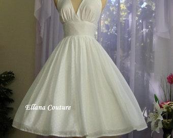 Shirley - Swiss Dot Cotton Wedding Dress. Vintage Inspired Design.