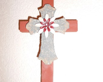 rusty brown cross with ceramic cross and flower