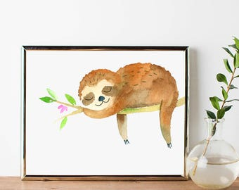 Sloth Printable // Sloth Digital Download Art, Sloth Digital Art, Sloth Wall Art, Sloth Wall Decor, Sloth Poster, Sloth Decor, Sloth Print