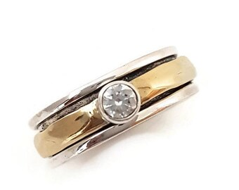 Cubic Zirconia Spinner Ring Narrow Silver/Brass, Birthstone Jewellery, CZ Spinner Ring, Unusual Wedding Band, Worry Ring Mistry Gems, SP46CZ