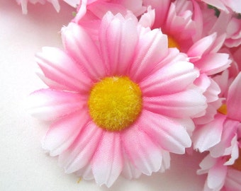 12 Pink with White Edge Gerbera Daisy Heads - Artificial Silk Flower - 1.75 inches - Wholesale Lot - for Wedding work, Make Hair clips, hats