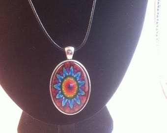 Red Retro kaleidoscope Print pendent Necklace on a leather cord, handmade