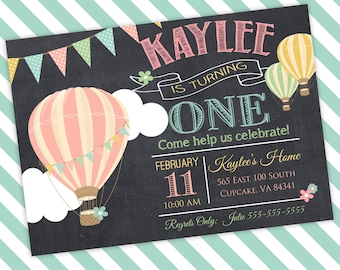 Hot Air Balloon Birthday Party Invitation -5x7 or 4x6 - Balloon Birthday Invitation