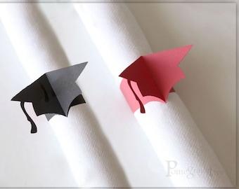 Graduation Cap, Set of 10 Paper Napkin Rings (5 Red+5 Black) Graduation Party Decorations Party Supplies Table Decor Paper Napkin Rings GC43