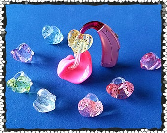 Tube Trinkets:  Translucent Glittery Hearts!  Please select quantity 2 for a pair!