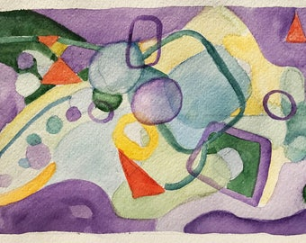 Watercolor Abstract Colorful Art Contemporary Home Decor